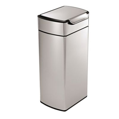 simplehuman® Brushed Stainless Steel Fingerprint-Proof Rectangular 30-Liter Touch Bar Trash Can