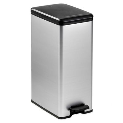 Curver 40-Liter Slim Metallic Trash Can in Silver