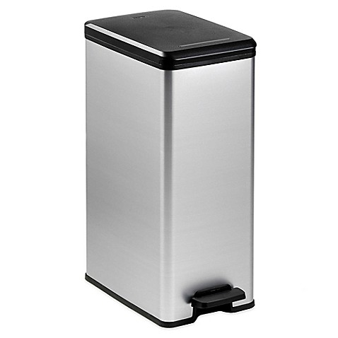 Curver 40 Liter Slim Metallic Trash Can