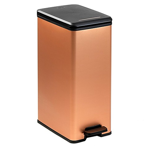 Curver 40 Liter Slim Metallic Trash Can BedBathandBeyond