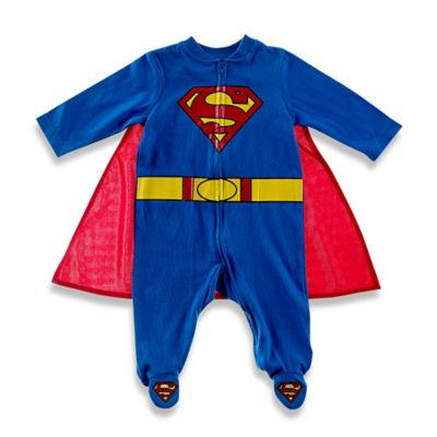 Superman Footed Coverall and Cape in Blue/Red