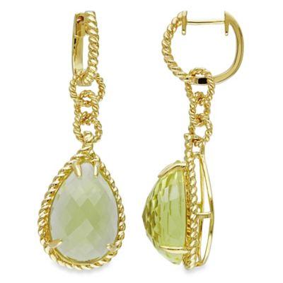 Pear Cut Dangle Lemon Quartz Earrings