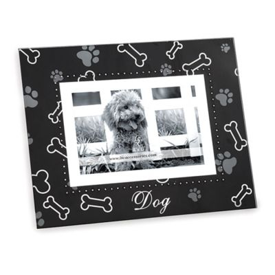Glass 4-Inch x 6-Inch Dog Picture Frame in Black