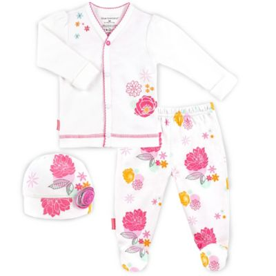 Kushies Blue Banana™ Size 6M 3-Piece Poppy Print Take Me Home Set in White/Pink