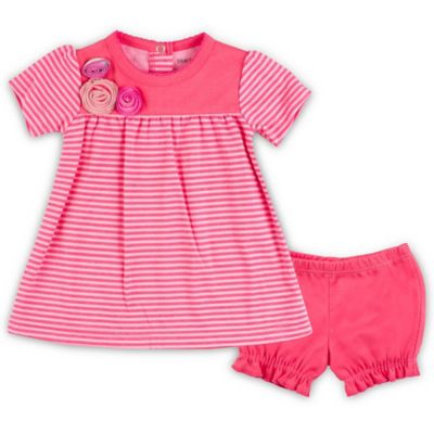 Kushies Blue Banana™ Size 3M 2-Piece Dress and Bloomer Set in Pink Stripe