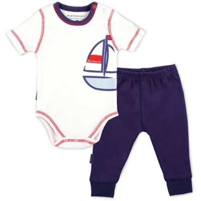 Kushies Blue Banana™ Size 3M 2-Piece Sailboat Bodysuit and Pant Set in White/Navy/Red