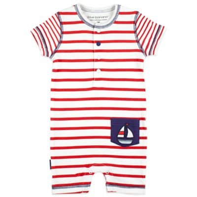 Kushies Blue Banana™ Size 3M Sailboat Romper in Red Stripe/Navy