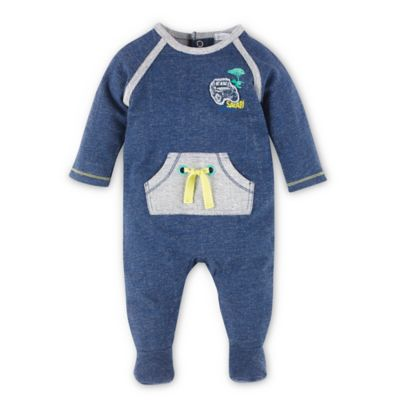 Petit Lem Traveller Size 9M Kangaroo Pocket Footie in Navy/Grey