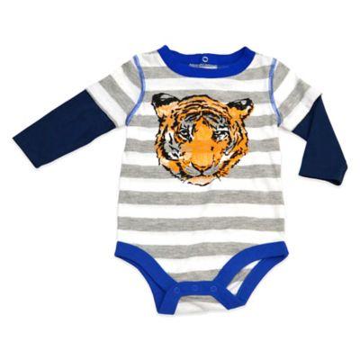 Charlie Rocket™ Size 3M Long Sleeve Tiger 2-Fer Bodysuit in Grey Stripe