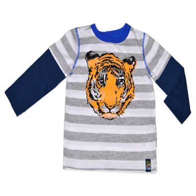 Charlie Rocket™ Size 2T Long Sleeve Tiger 2-Fer T-Shirt in Grey Stripe