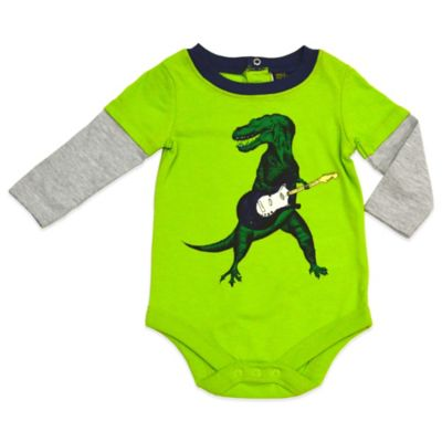 Charlie Rocket™ Size 9M Guitar Dino Long Sleeve 2-Fer Bodysuit in Green