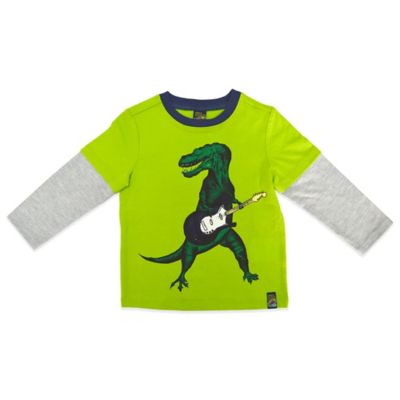 Charlie Rocket™ Size 12M Guitar Dino Long Sleeve 2-Fer T-Shirt in Green