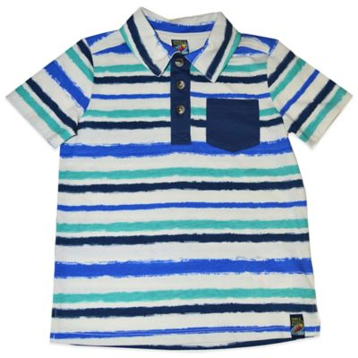 Charlie Rocket™ Size 3T Short Sleeve Striped Polo Shirt in White/Blue/Teal