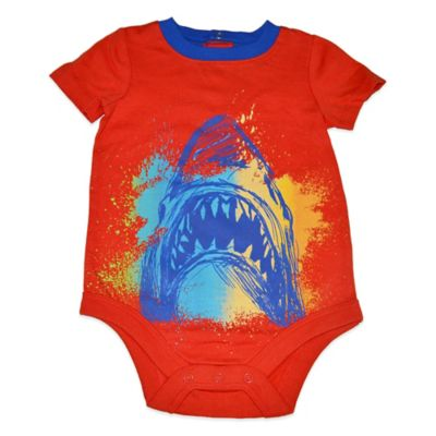 Charlie Rocket™ Size 6M Shark Bite Short Sleeve Bodysuit in Orange/Blue