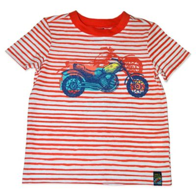 Charlie Rocket™ Size 18M Short Sleeve Motorcycle T-Shirt in Red Stripe