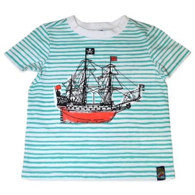 Charlie Rocket™ Size 18M Short Sleeve Ship T-Shirt in Aqua Stripe