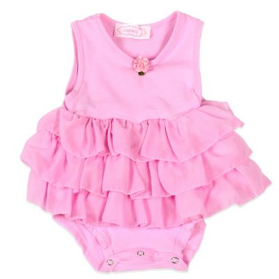 POPATU® 3-Tier Ruffled Size 3M Sleeveless Bodysuit in Pink with Rose Detail