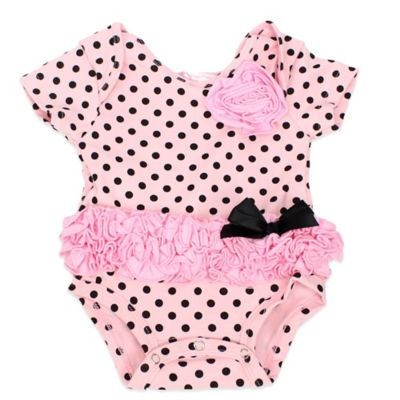 POPATU® Size 9M Polka Dot Ruffled Bodysuit in Pink/Black