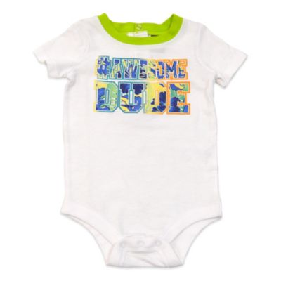 "Charlie Rocket™ Size 9M ""#Awesome Dude"" Short Sleeve Bodysuit in White/Green"
