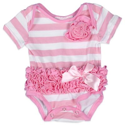 POPATU® Size 6M Ruffle Short Sleeve Bodysuit in Pink/White Stripe