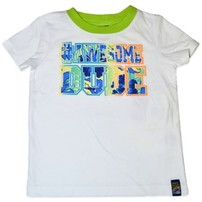 "Charlie Rocket™ Size 3T ""#Awesome Dude"" Short Sleeve T-Shirt in White/Green"