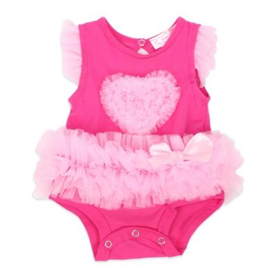 POPATU® Size 3M Ruffled Heart Bodysuit in Hot Pink