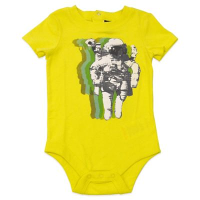 Charlie Rocket™ Size 6M Astronaut Short Sleeve Bodysuit in Yellow/Green