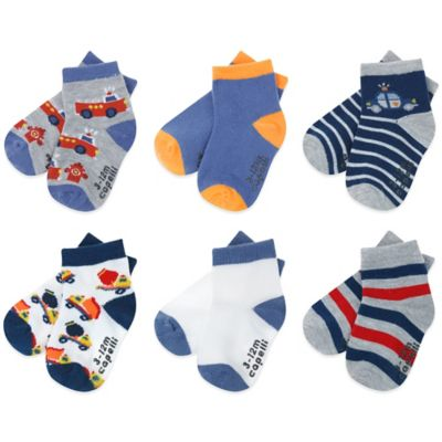 Capelli New York Size 3-12M 6-Pack Truck-Themed Socks