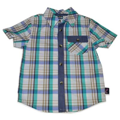Charlie Rocket™ Size 9M Woven Short Sleeve Shirt in Grey/Teal/Denim