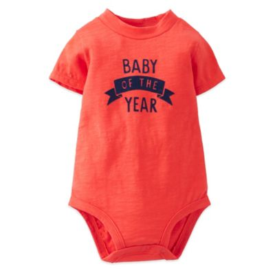 "Carter's® Size 12M ""Baby of the Year"" Short Sleeve Bodysuit in Red/Navy"