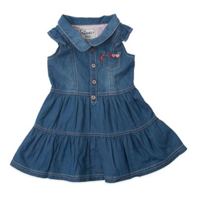 Levi's® Drew Size 3-6M Faux Denim Sleeveless Dress in Ice Blue