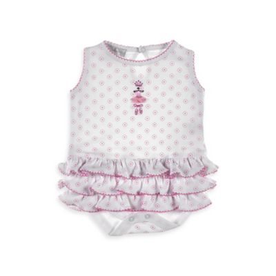 Magnolia Baby™ Size 3M Ballerina Dreams Ruffle Bubble Sleeveless Bodysuit in White/Pink