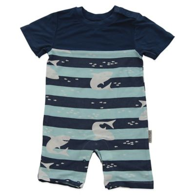 Silkberry Baby™ Size 3-6M Shark Print Romper in Navy/Light Blue
