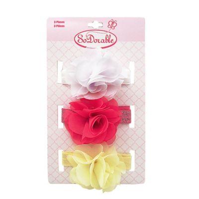 So'Dorable 3-Pack Chiffon Flower Headwraps