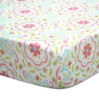 The Peanut Shell® Gia Floral Damask Fitted Crib Sheet