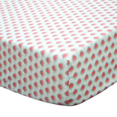 The Peanut Shell® Gia Geometric Floral Fitted Crib Sheet in Coral/Mint