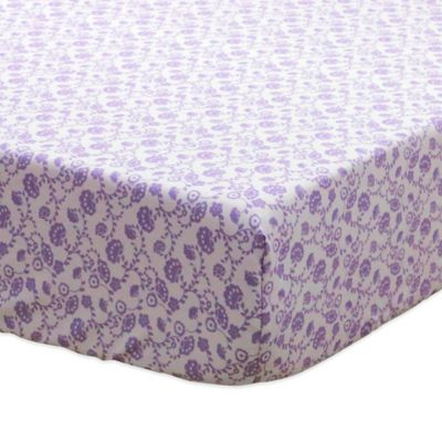 The Peanut Shell® Zoe Floral Fitted Crib Sheet in Purple