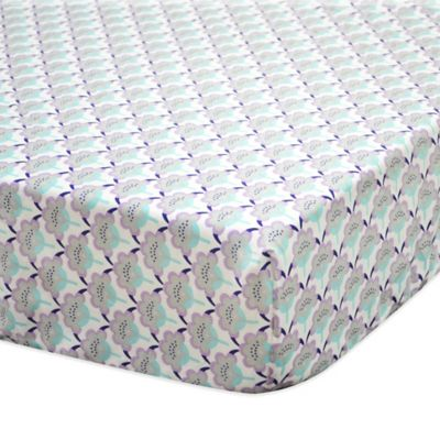 The Peanut Shell® Zoe Scallop Floral Fitted Crib Sheet in Aqua/Purple