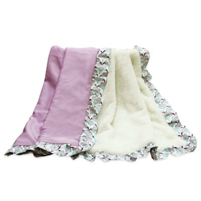 The Peanut Shell® Zoe Velour Blanket in Purple/White