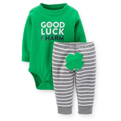 "Carter's® Size 3M 2-Piece ""Good Luck Charm"" Long Sleeve Bodysuit and Pant Set in Green"