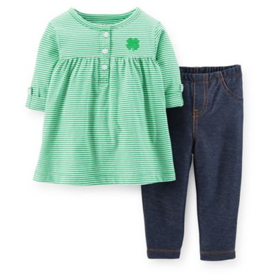 Carter's® Size 3M 2-Piece Shamrock Tunic and Faux Denim Pant Set in Green/Blue
