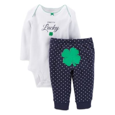 "Carter's® Newborn 2-Piece ""Pretty Lucky"" Long Sleeve Bodysuit and Clover Pant Set in White/Navy"