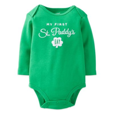"Carter's® Size 3M ""My First St. Paddy's Day"" Long Sleeve Bodysuit in Green"