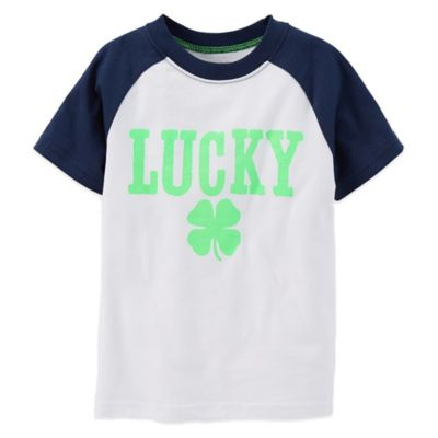 "Carter's® Size 2T ""Lucky"" Clover T-Shirt in White/Navy"
