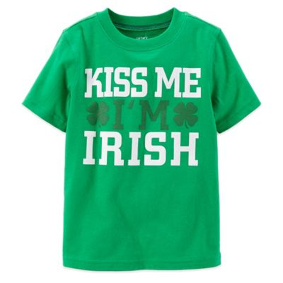 "Carter's® Size 24M ""Kiss Me, I'm Irish"" Clover T-Shirt in Green"