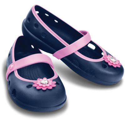 Crocs™ Size 4 Kids' Keeley Petal Charm Sandal in Navy