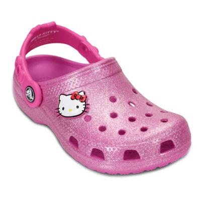 Crocs™ Hello Kitty® Size 4-5 Kids' Glitter Clog in Party Pink