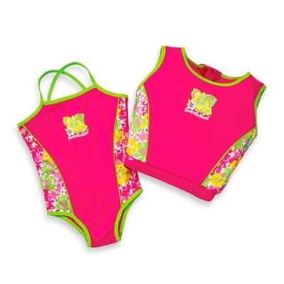Aqua Leisure® Girls' 2-Piece Swim Trainer in Pink/Yellow