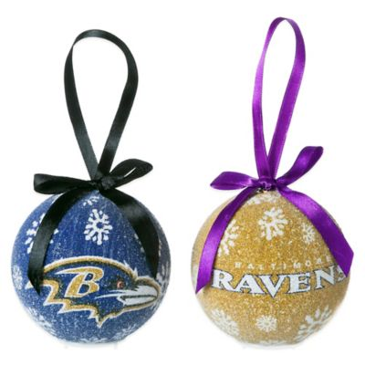 NFL Baltimore Ravens LED Lighted Christmas Ornament Set (Set of 6)