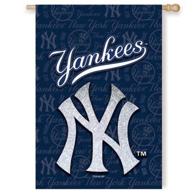 MLB New York Yankees Double-Sided Vertical Glitter Flag